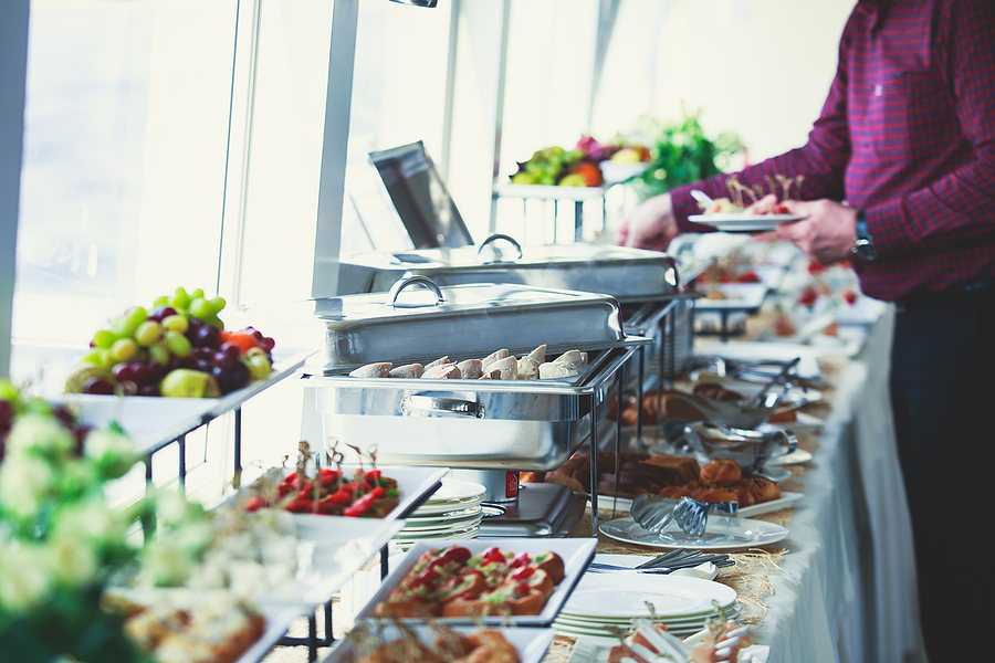 In office corporate catering spread on table